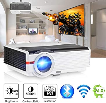 Smart Bluetooth HD Wireless Projector 4200 Lumen, 2018 Android 6.0 WXGA Video Projector Support WIFI 1080P Airplay APPs HDMI VGA USB TV Outdoor Movie ...