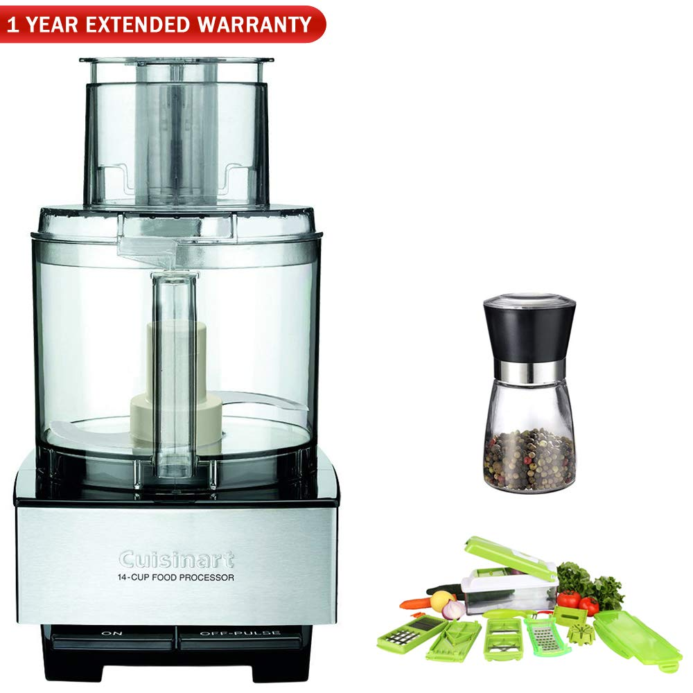 Cuisinart DFP-14BCNY 14-Cup Food Processor, Brushed Stainless Steel w/Chop Wizard Bundle Includes, Chop Wizard 10-Pc. Fruit & Vegetable Chopper, Spice Mill and 1 Year Extended Warranty