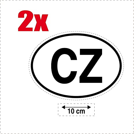Safirmes 2 X Selbstklebend Sticker Flagge Oval Code Länder Auto Moto Cz X10 C Eská Republika Auto