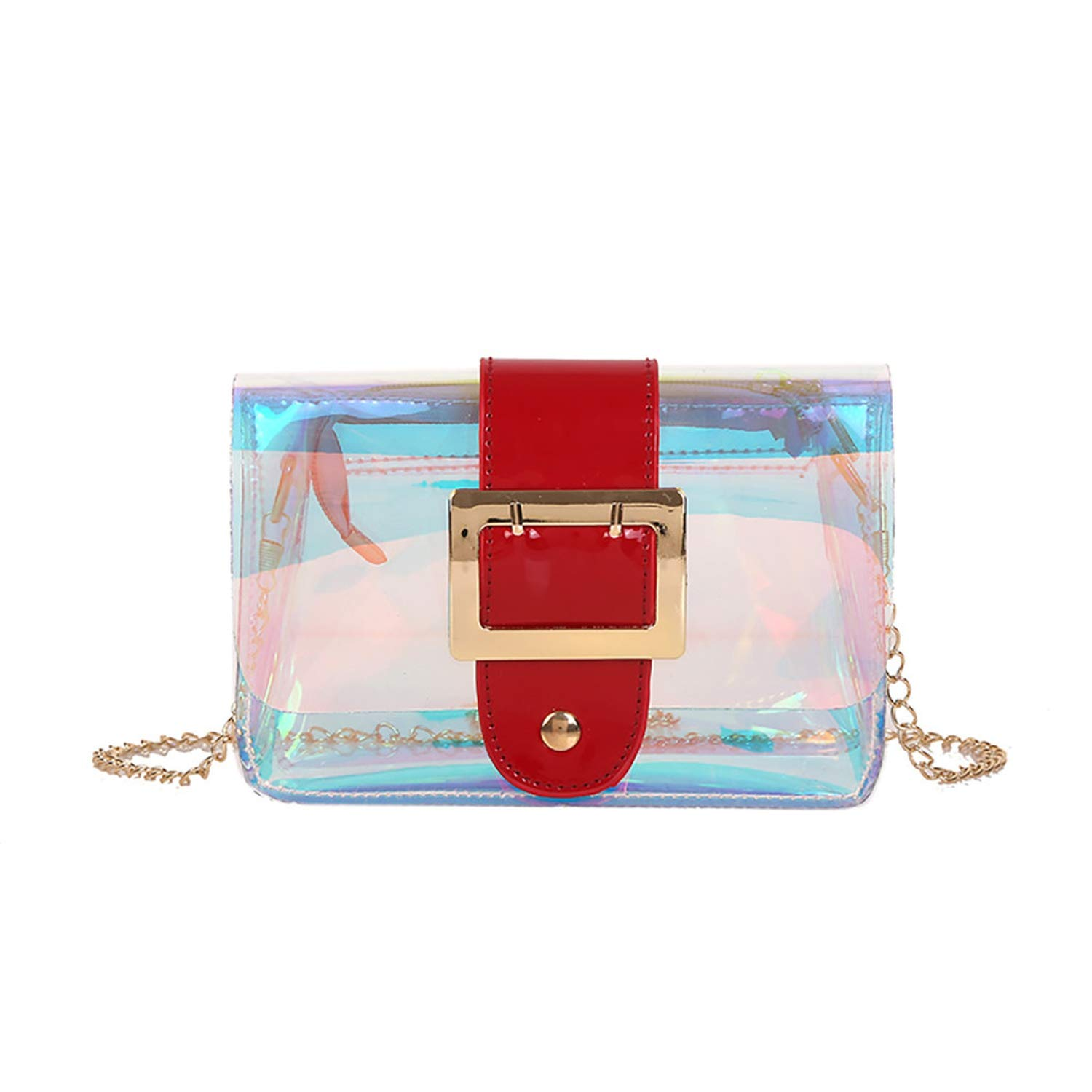Amazon.com: Women 2019 Lady Pin Buckle Transparent Messenger ...