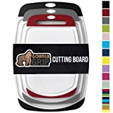 Gorilla Grip Original Oversized Cutting Board, 3 Piece, BPA Free, Dishwasher Safe, Juice Grooves, Larger Thicker Boards, Easy Grip Handle, Non Porous, Extra Large, Set of 3, Black, Gray, Red