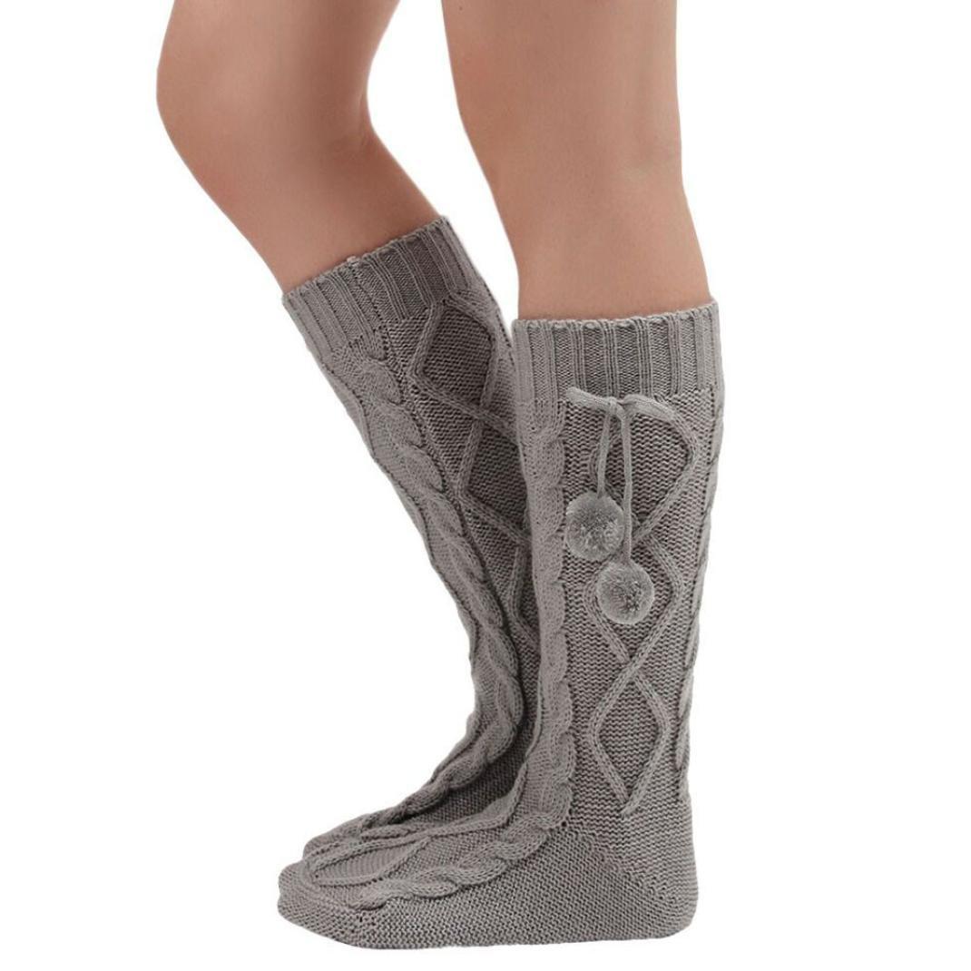 Internet 2016 Automne-hiver Femmes Bottes longues tricot chaussettes au- dessus du genou cuissardes Avec des boules 44CM (Blanc): Amazon.fr:  Vêtements et ...