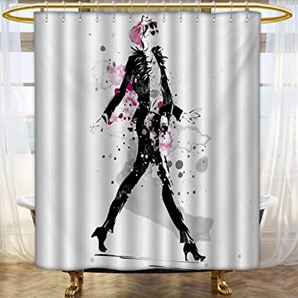Lacencn FashionShower Curtains WaterproofGlamorous Stylish Sexy Woman Model On Catwalk Runway In