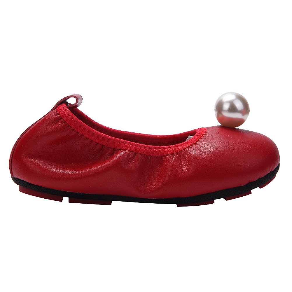 rismart Girls Slip on Toe Cap Imitation Pearl Classic Cute Leather Ballet Flats