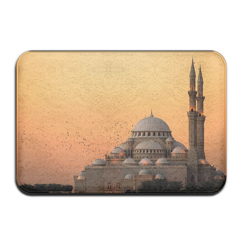 YUYU Photography Nature Landscape Mosque Architecture Islam Flying Birds Sunset Lights Religion India Bedroom White Memory Foam Bathroom Mat 16x24 Inch Customized Artwork Print