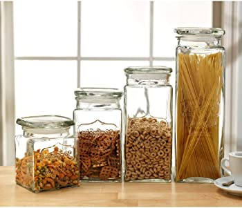 Le'raze 4 Glass Canister Jars with Air Tight Lids