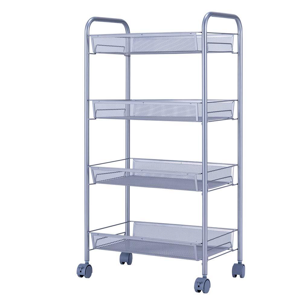 SINGAYE 4 Tier Metal Mesh Rolling Cart Mesh Storage Shelving Trolley Rolling Household Cart Silver