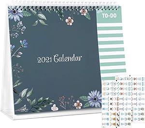 TOYANDONA 2021 Desk Calendar (Floral, 8x9.8 inch),Cute Desktop Standing Flip Calendar 12 Monthly Calendar Daily Organizer Planner, with 2 Sheets Stickers