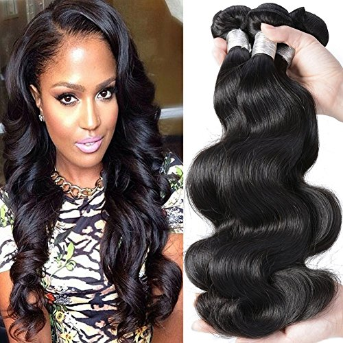 Body Wave Human Hair Brazilian Virgin Hair Body Wave 4 Bundles Wet and Wavy Human Hair Extensions #1b 14 16 18 20 Inch - Q3 Hair Dryer