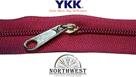 YKK Nylon Coil Zipper Tape # 10 Walnut 1 yard with 1 Black Zipper Slider