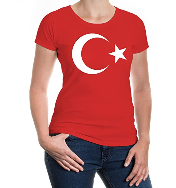 buXsbaum Girlie T-Shirt Turkey Flag Full Size-XS-Red-White