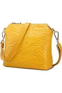 59f0161ab95f2 Howoo Echtes Leder Rindleder Schultertasche Klein Handtasche Jahrgang Retro  Geprägt Umhängetasche Bote für Damen Frauen
