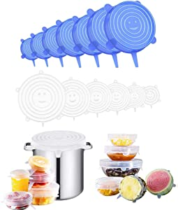 Silicone Stretch Lids, Reusable Safe Eco-Friendly for Food/Bowls/Containers/Jars, Alternative to Cling Film, for Using in Dishwasher Microwave and Freezer - 12 Pack