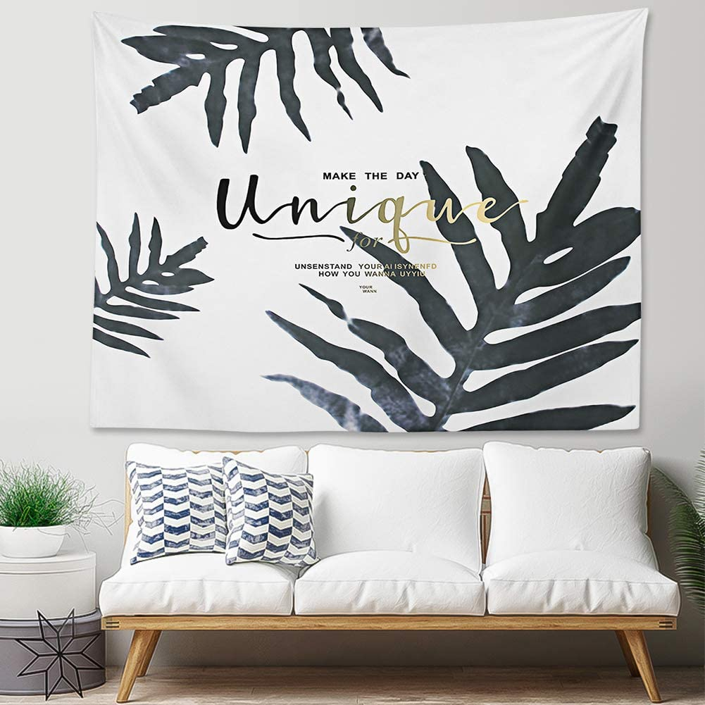 YINUO Tropical Palm Leaf Tapestry Watercolor Banana Leaves Tapestries Tropical Plant Tapestries Black and White Wall Decor Tapestry Wall Hanging59
