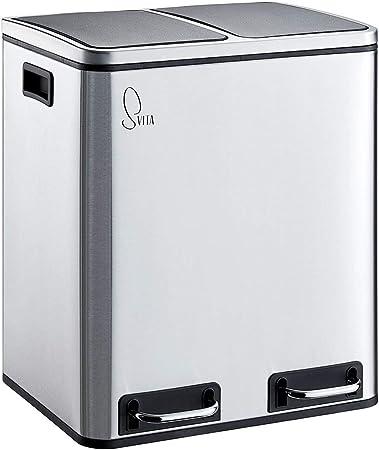 SVITA TM2X15 Edelstahl Treteimer 30 Liter Abfalleimer Mülleimer Design Silber Mülltrennung Papierkorb Küchen Ordnung Trennsystem