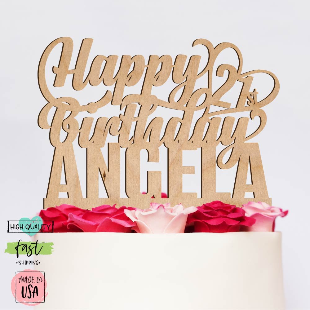Amazing Items Personalized Birthday Cake Topper Customized Age and Name 4 Color Type and 23 Colors Design 13 (Wood Colors)