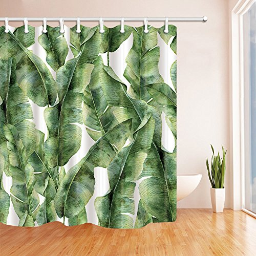 NYMB Tropic Plant Watercolor Banana Palm Leaves Bath Curtain, Polyester Fabric Waterproof Shower Curtains, 69X70 in, Shower Curtain Hooks Included, Green (New Leaf Patterns)