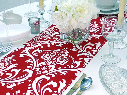 Red & White Cotton Damask Table Runner Made in USA | ChristmasTablescapeDecor.com