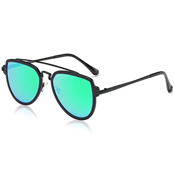 620acab079 SOJOS Fashion Aviator Flat Mirrored Lens Double Bridge Unisex Sunglasses(Matte  Black Frame and Green Mirrored Lens