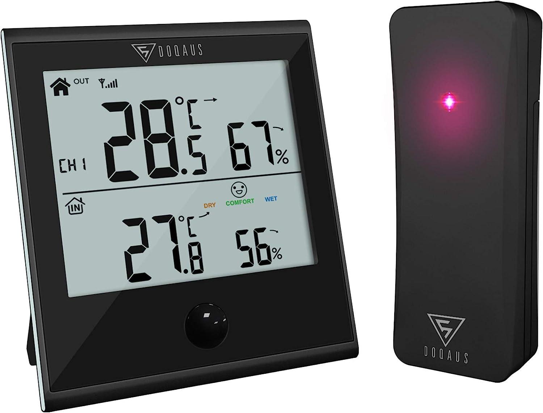 DOQAUS Termómetro Higrómetro Digital para Interior y Exterior, Medidor de Temperatura y Humedad con Sensor Inalámbrico Remoto para Habitación o al Aire Libre(Negro)