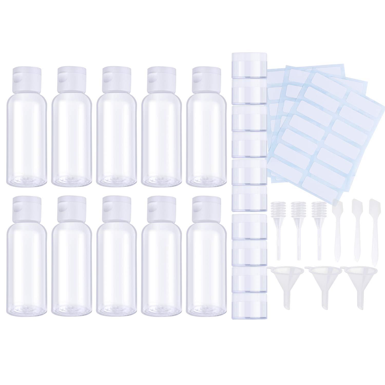 BRT 32Pcs Reise-Flaschen-Satz-klare Plastikreise-Flaschen-Toilettenartikel-flüssige Behälter nachfüllbare Reise-Behälter-Luft-Flug-Reise-Flaschen