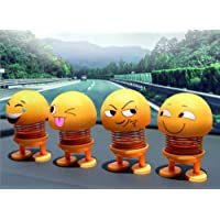 Beauty craft Iland Emoji Bobble Head Doll for Car Dashboard Bounce Toys || Funny Smiley Face Spring Dolls Car Decoration for Car Interior Dashboard Expression || Set of 4 PCs