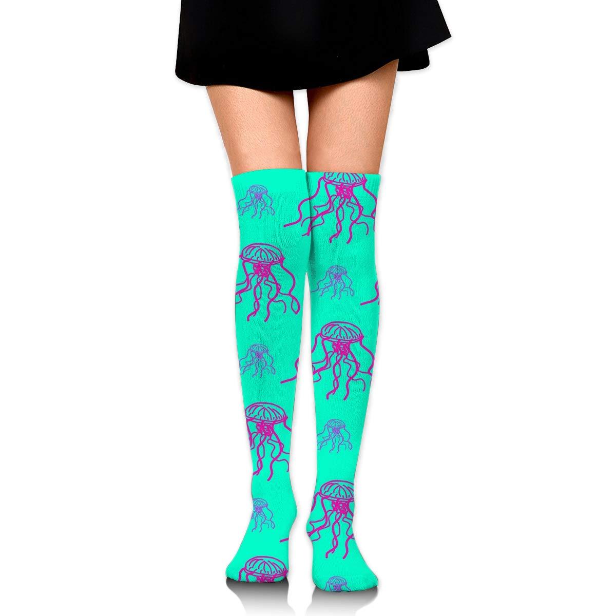 Kjaoi Girl Skirt Socks Uniform Red Jellyfish Pattern Women Tube Socks Compression Socks