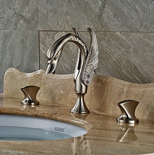 GOWE Widespread Basin Mixer Taps Deck Mount Swan Style Bathroom Sink Faucet with Dual Handle 5