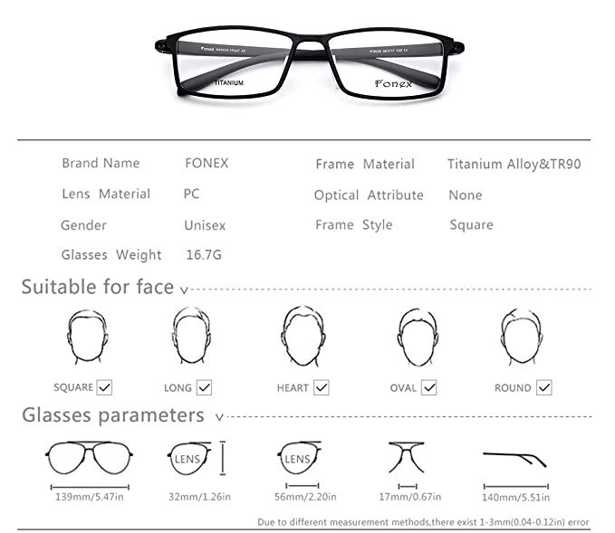Amazon.com: FONEX TR90 Square Glasses Frame Men Myopia Prescription ...