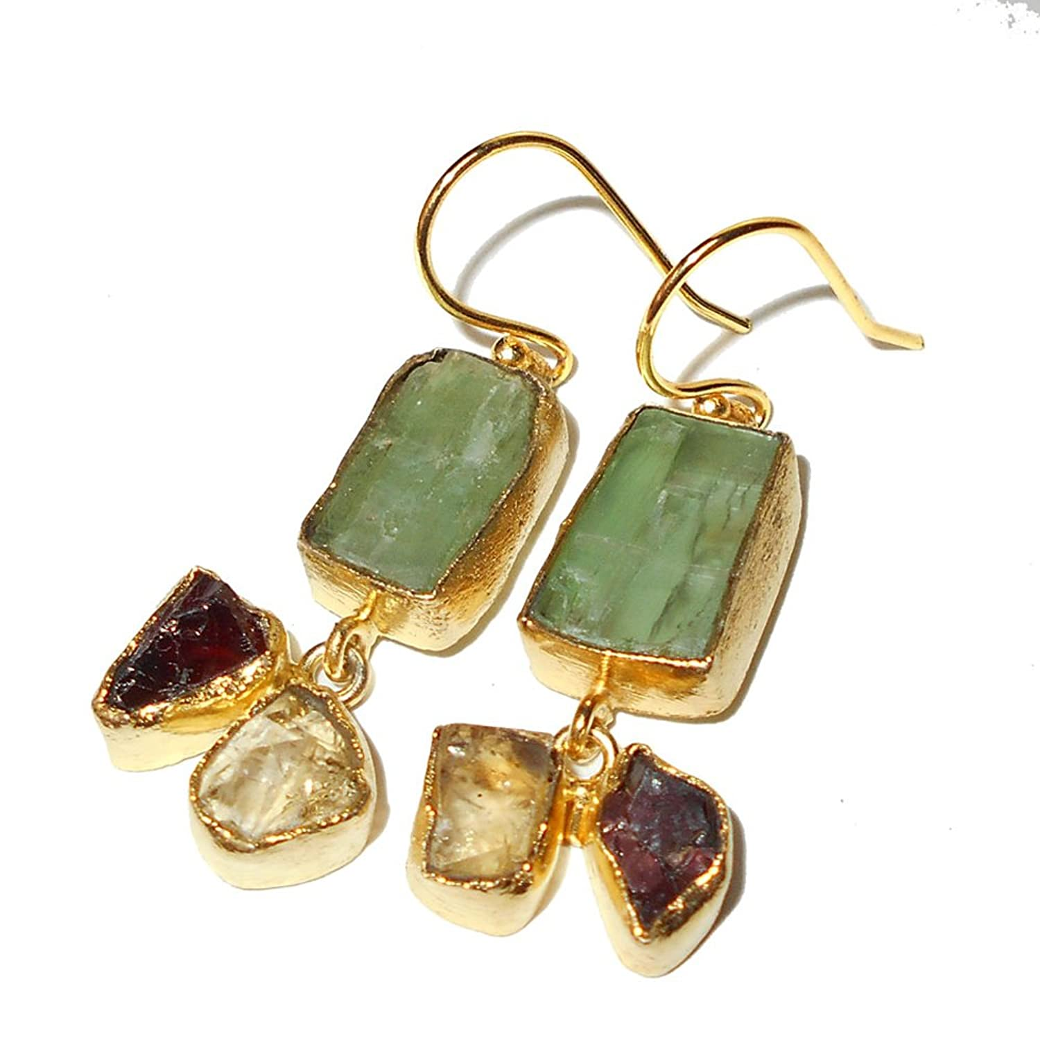 Green Kyanite, Citrine And Garnet Bezel Set Hook Earrings For Birthday Gift