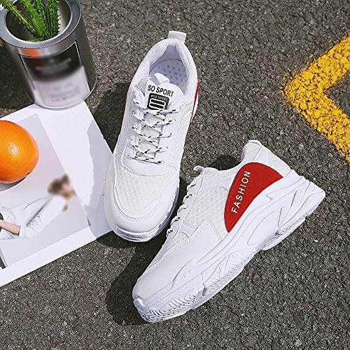 la Zapatos de Zapatillas Bordadas Ocasionales para ZODOF de Blanco Mujeres Moda Huecas Respirables de Deporte Las de Arriba Las RxFznAqz