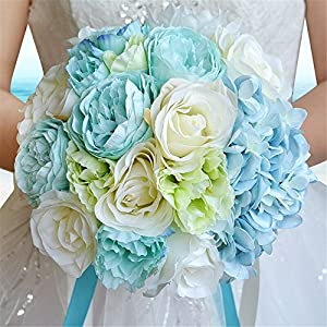 S-SSOY Multicolor Hand Made Diamond Satin Roses Bridesmaid Bridal Artificial Bouquets Customization Bride Holding Bouquet Wedding for Photo Shooting, Valentine's Day, Proposal, Birthday 15