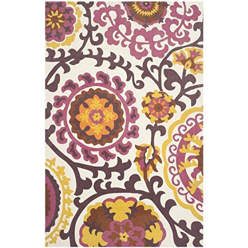 Safavieh Cedar Brook Collection CDR132C Handmade Purple Cotton Area Rug, 4-Feet by 6-Feet