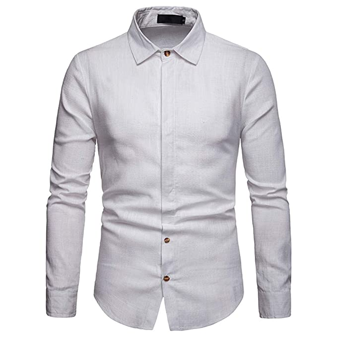463d646fd45 Men s Slim Dress Shirts Button Top Long Sleeve Business Single Breasted  Blouse