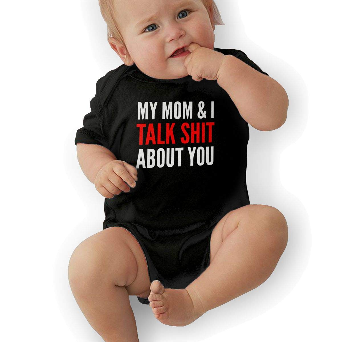 Cute My Mom and I Talk Shit About You Crawler U88oi-8 Short Sleeve Cotton Rompers for Unisex Baby
