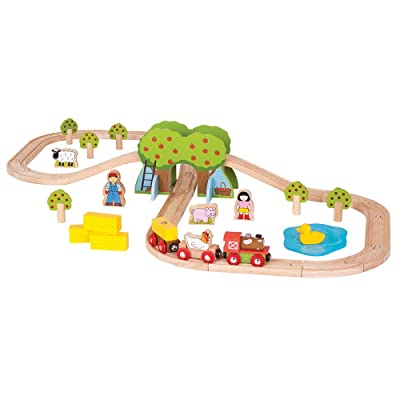 Bigjigs Rail Wooden Farm Train Set - 44 Play Pieces: Toys & Games