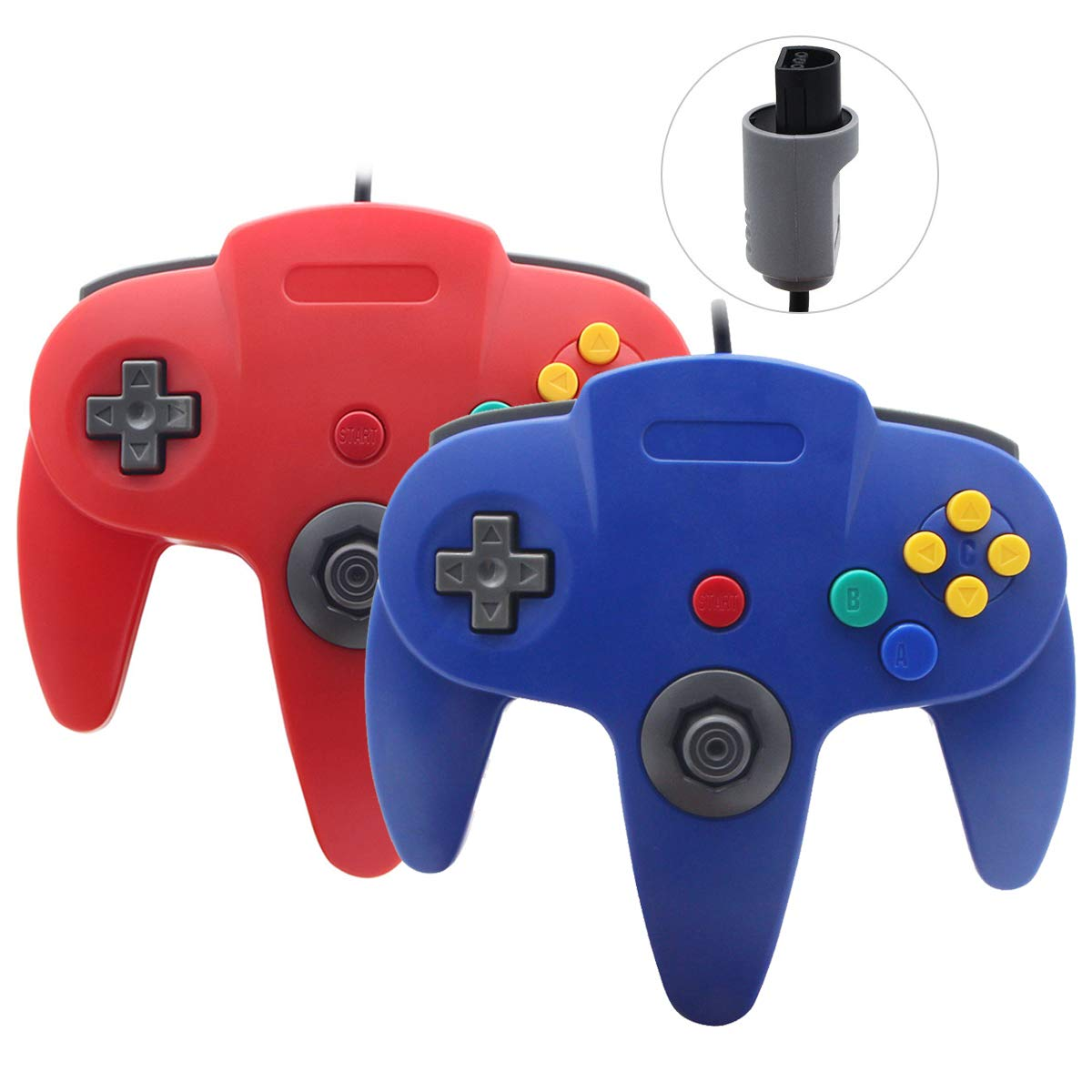 Sp full 2 Pack Upgraded Joystick Classic Wired Controller Compatible with N64 (Red and Blue)