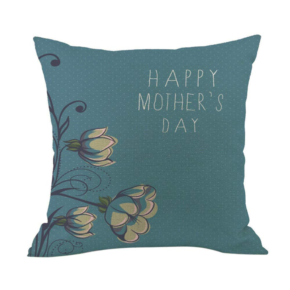 2019,EOWEO Happy Mothers' Day Sofa Bed Home Decoration Festival Pillow Case Cushion Cover(45cm×45cm,Multicolor-H)