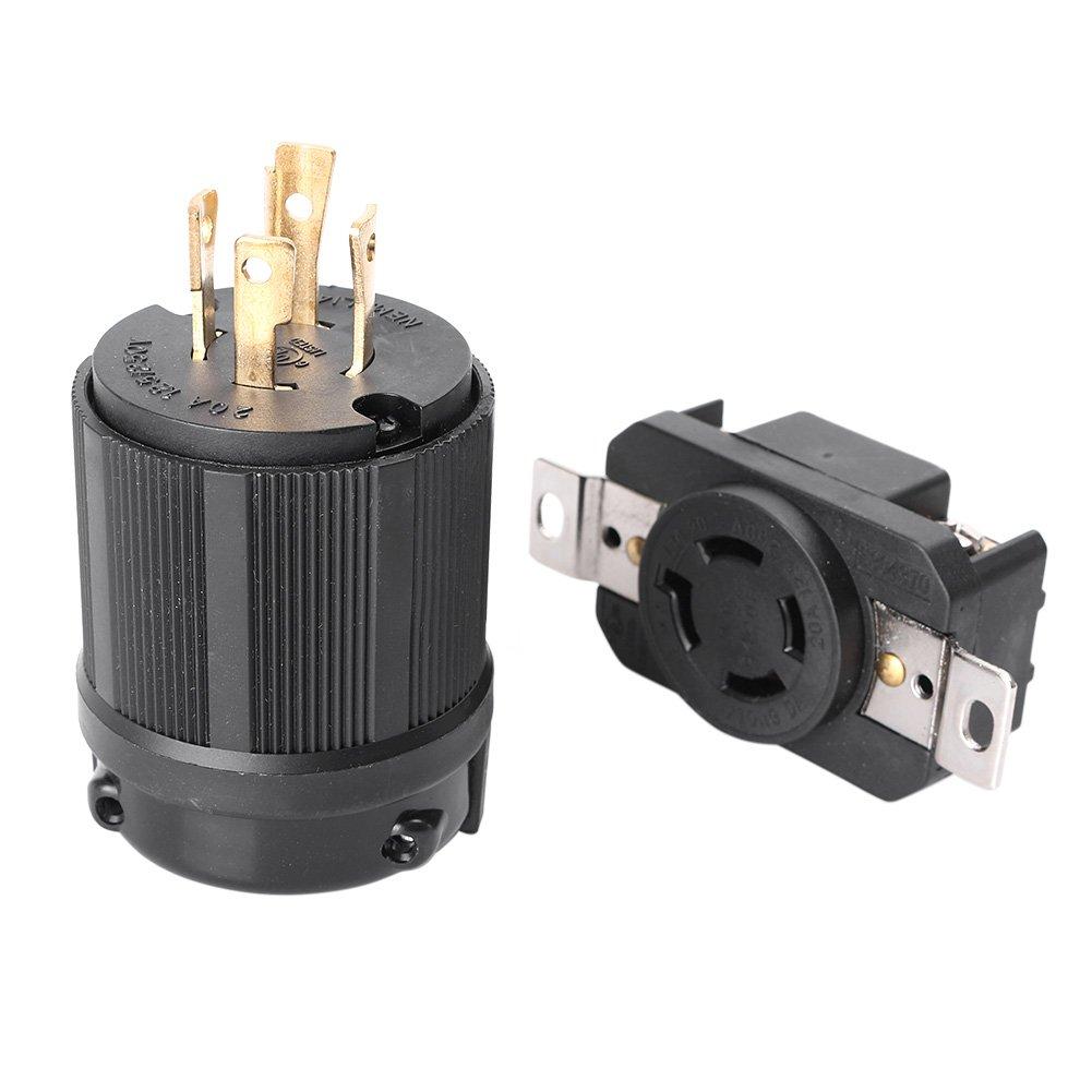 Mallofusa 20 Amp, 125-250 Volt, NEMA L14-20P L14-20R, Industrial Power Plug, Plug Connector for Generator Cord Assembly, US