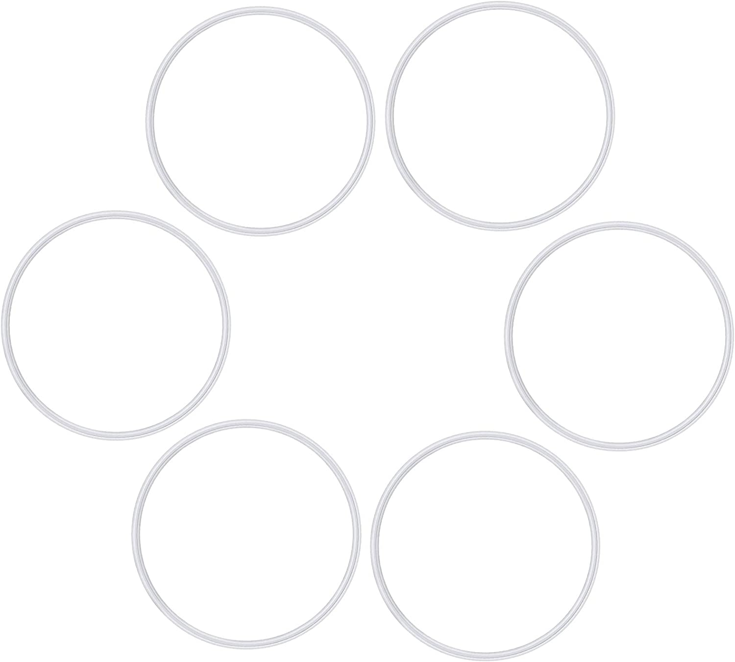 Rubber Gaskets, 6 Pack Replacement Seal White O-ring Gaskets Compatible with Magic Bullet 250W Cross or Flat Blade, Blender Replacement Parts