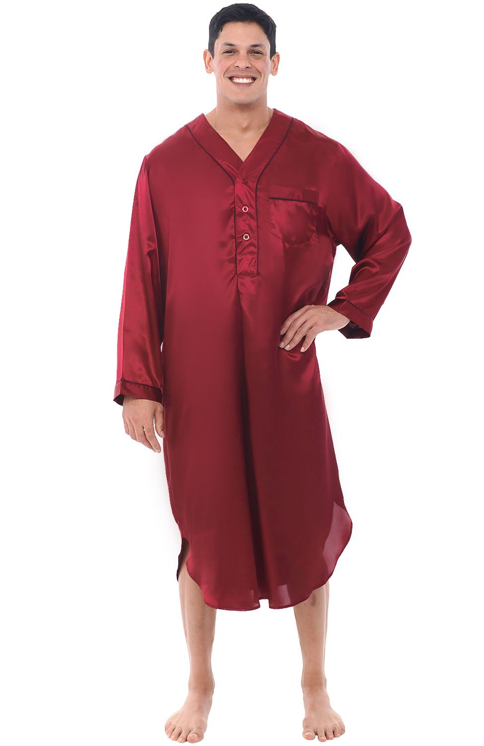Alexander Del Rossa Mens Satin Nightshirt, Long Lightweight Woven Kaftan A0763