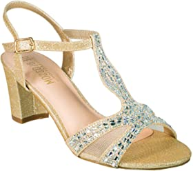8610125686 De Blossom Collection Women's Rhinestone Embellished T-Strap Low Chunky Heel  Dress Sandal Nude 9
