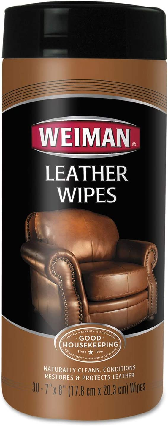 Weiman 91CT Leather Wipes, 7 x 8, 30/Canister, 4 Canisters/Carton