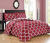 2 piece Luxury BURGUNDY RED/ WHITE Reversible Quatrefoil Goose Down Alternative Comforter set, Twin / Twin XL Duvet Insert