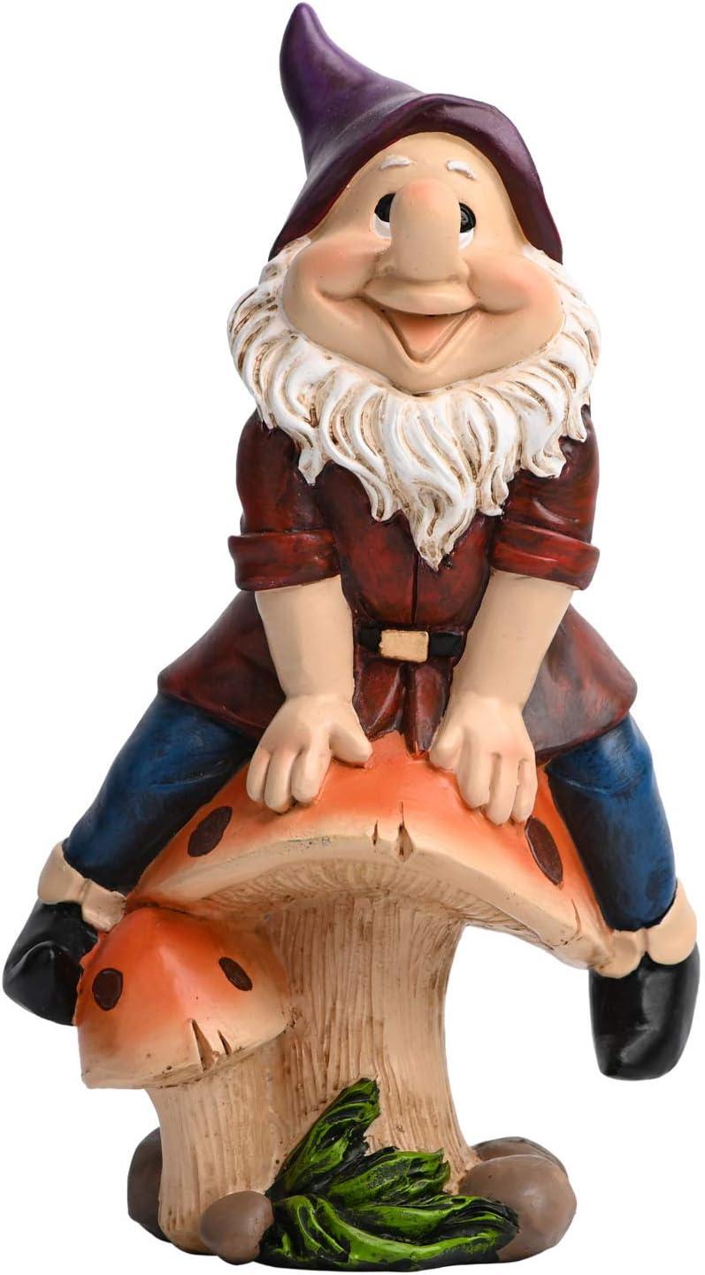 Hausure Funny Garden Gnome Statue, 7.5 inch Figurines Outdoor Gnome Statue Decorations for Lawn Ornaments Patio Yard
