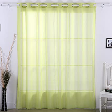 Deconovo Sheer Curtain Panels Grommet Wide Curtains For Living Room Grass Green 100x95 Inch