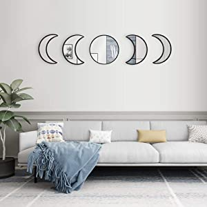 Hciszl 5pcs/Set Scandinavian Moon Phase Mirror Wall Decor for Home Living Room Bedroom, Wooden Frame Decorative Acrylic Mirrors Bohemian Wall Decoration - No Need to Punch
