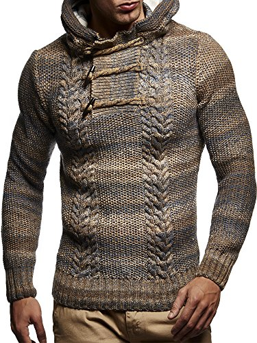Designer Cardigan Sweater (Leif Neslon LN20743 Men's Knitted Pullover With a Hood; Size 3XL, Brown)