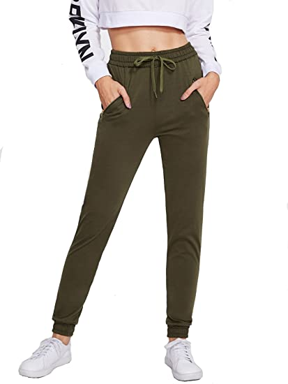 2cc21eacd2d1 Verdusa Women s Solid Drawstring Waist Sports Sweatpants French Terry  Jogger Pants Green XL at Amazon Women s Clothing store