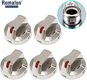 Romalon DG64-00473A Burner Knob Dial (5pack) with Reinforced Power Protection Ring Fit for Samsung Range Oven Replaces AP5917439, PS9606608